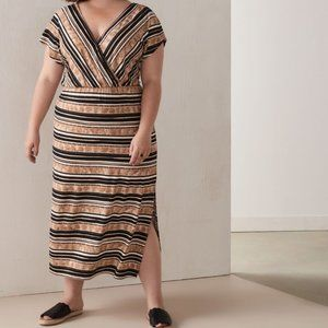 Love & Legend | Striped Faux-Wrap Maxi Dress